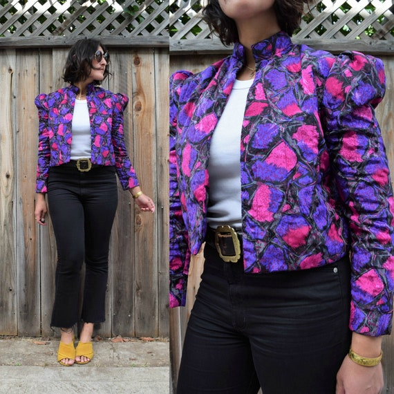 80s Vintage Quilted PUFF SLEEVE Jacket XS S