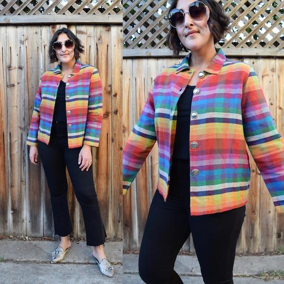 90s Vintage Rainbow Plaid Cotton Jacket M
