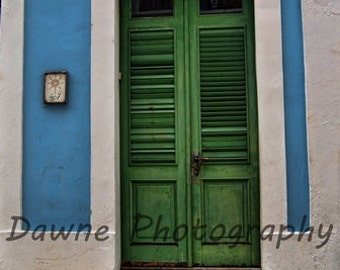 Green Wooden Door 8 x 10 Photograph Puerto Rico Home Decor