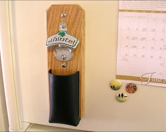 Irish Cap Catcher Bottle Opener - Leather Pouch, Magnetic or Wall Mount
