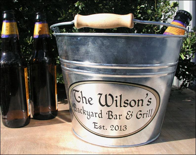 Custom Metal Bucket Galvanized Beer Bucket or Ice Bucket image 0