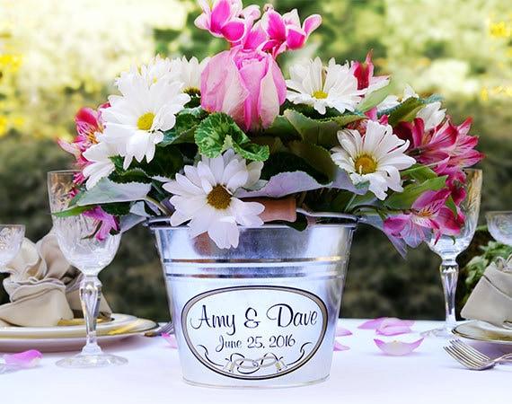 custom wedding decor personalized wedding centerpiece etsy rh etsy com Galvanized Buckets for Centerpieces Galvanized French Flower Bucket