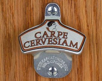 "Novelty Bottle Opener, Wall Mount Bottle Opener, Bottle Cap Catcher, Fun Beer Gift - ""Carpe Cervesiam"""
