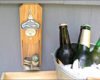 """Cap Catcher Bottle Opener, Novelty Wall Bottle Opener - """"I Believe I'll Have a Beer"""" - Magnetic & Wall Mount, Clear Pouch"""