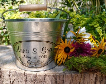 Custom Flower Girl Pail, Rustic Wedding, Personalized Wedding Bucket, Galvanized Metal Pail - Medium (3qt) or Large (6qt)