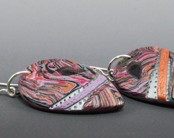 Asymmetrical Mokume Gane Teardrop Earrings - Pink Copper Purple Silver Dangle No. 200