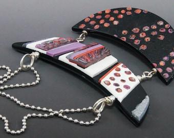 Two Tier Bib Choker Necklace - Bold Purple Silver Black Copper Cream Crescent No. 198