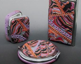 CHOICE of Multicolor Pink Black Purple Copper Silver Accessories - Compact Mirror - Business Credit Card Case- Pill Case - 129