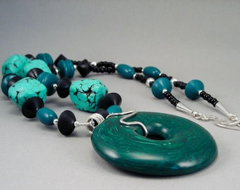 Handcrafted Necklace - Malachite Donut Turquoise Nugget No. 156