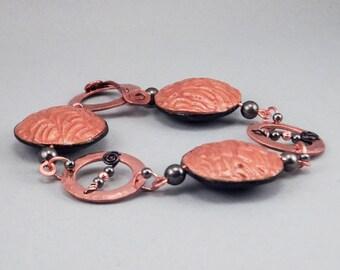 Handcrafted Bracelet - Stamped Copper and Black Lentil Beaded No. 144