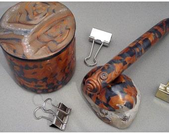 Handcrafted Trinket Box Pen Desk Set - Gold Copper Silver Home Decor 102