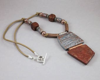 Handcrafted Necklace - Copper Silver Hinged Metallic Choker No. 132