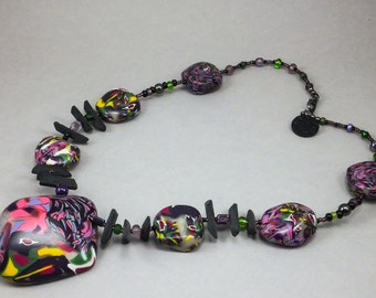 Handcrafted Choker - Purple Floral Abstract Necklace No. 130