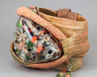 Handcrafted Bold Gauze Fiber Wide Wrap Cuff Bracelet - Peach Multi Cabochon Flexible No. 128