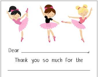 Autumn Gold Ballerina Ballet Party Thank You Cards