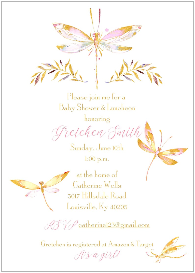 Watercolor Dragonfly Printed Baby Shower Invitations