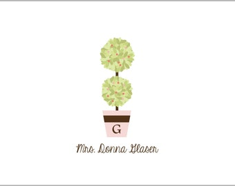 Personalized Topiary Folded Note Cards- set of 10