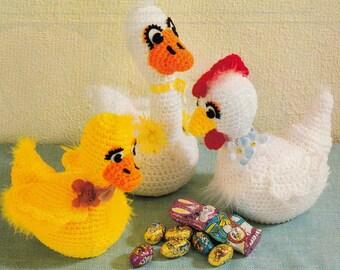 "Vintage Stuffed Toy CROCHET PATTERN Duck~Ducks~8"" tall~Quick & Easy~Instant Download e-pattern"
