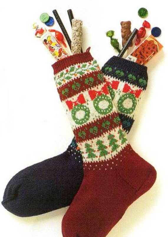 Nordic Wreath Christmas Stocking Knitting Pattern Fair Etsy
