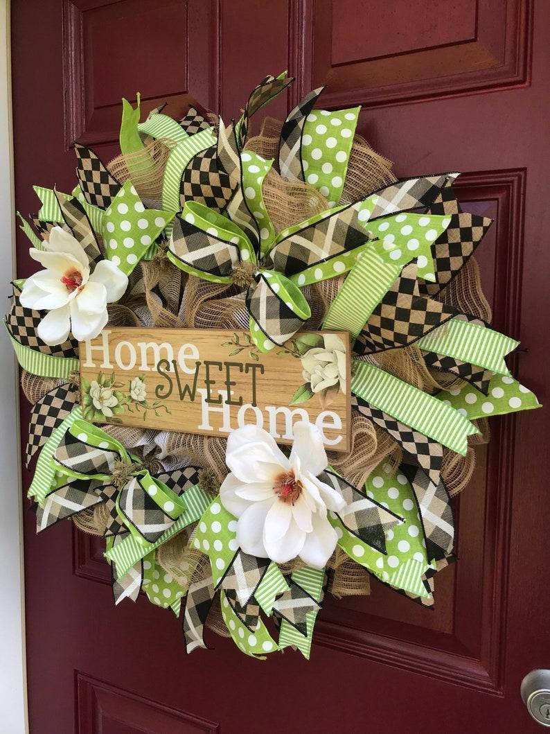 Home Sweet Home Magnolia Wreath Home Sweet Home Wreath Door Decor Magnolia Wreath Front Door Wreath Burlap Wreath Everyday Wreath