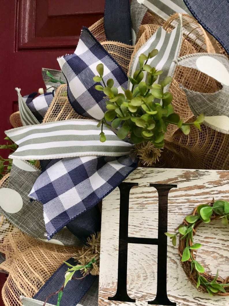 Home Sign with Grapevine Greenery Everyday Farmhouse Decor Year Round Wreath Home Wreath for Front Door Greenery Wreath Burlap Wreath
