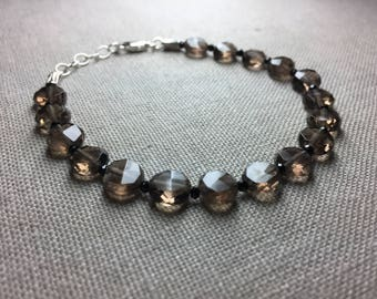 Smoky Quartz and Black Spinel Bracelet in Sterling Silver