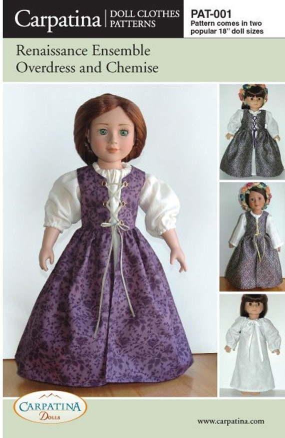 """18/"""" Dolls Pattern for Polonaise Costume multi size for American Girl /& Carpatina"""