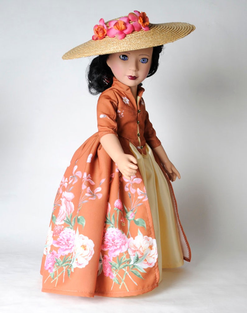 18 Dolls like American Girl or 18 Slim Carpatina Outlander Doll Dress with Hat and Panniers Choose your doll size