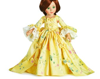 """Rococo Marie Antoinette Embroidered silk dress and matching shoes - for 18"""" Slim Carpatina Dolls, Kidz N Cats or BJD Dolls"""
