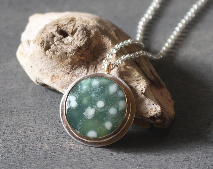 Featured listing image: Seafoam Green Ocean Jasper Sterling Silver 14k Gold Fill Mixed Metal Pendant White Dots Sterling Chain Contemporary Simple Rustic Gemstone