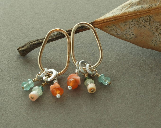 Featured listing image: Trio Post Earrings 14k Gold Fill Teardrops Sterling Silver Carnelian, Apatite, Prehnite, Pink Shell, Orange Green Faceted Gemstones Metal