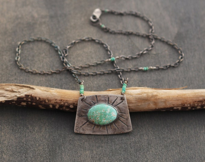 Featured listing image: Nomad Carico American Turquoise Sterling Silver Necklace Blue Green Stone Oxidized Dark Silver Chain Rustic Southwestern Contemporary OOAK