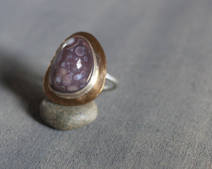 Featured listing image: Galaxy Ring Size 7 Botswana Agate 14K Gold Fill Sterling Silver Mixed Metal Contemporary Stone Rustic Earthy Purple Mauve Brown White OOAK