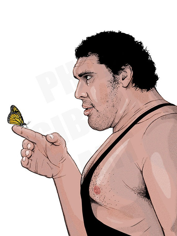 original gentle andré the giant art print poster etsy