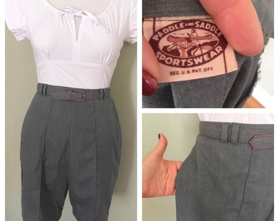 """1950s Paddle and Saddle Sportswear Gray High Waist Shorts with Matching Belt Side Pocket and Metal Zipper-XS S 25""""Waist"""