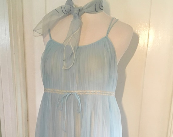 1960s Lovely MILLAY Sheer Baby Blue Babydoll Nightie with Lace Trim S M
