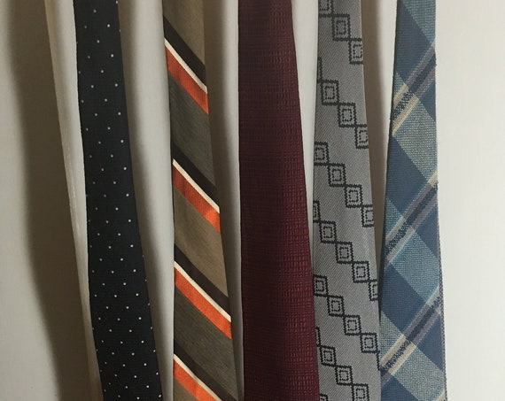 1950s 1960s Lot of 5 Ties-The Custom Shop Christian Dior Sears Mens Shop Triminghams