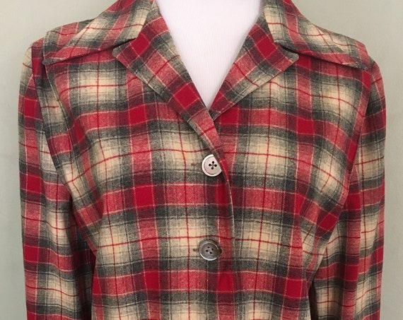 1940s 1950s LEVI'S Classic Red and Gray Shadow Plaid 49er Style Wool Shirt Jacket-M L