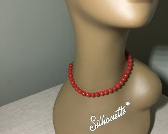 1950s Mid Century Cherry Red Beaded Adjustable Choker Necklace