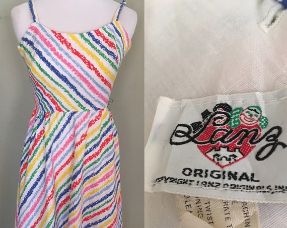 "1960s LANZ Fun in the Sun Multi Color Diagonal Stripe Cotton Scoop Back Sundress with Convertible Straps and Pockets-XS 33"" Bust"