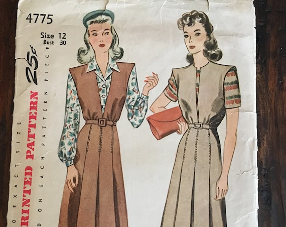 1940s Simplicity Pattern 4775 Blouse and Jumper Pattern Size 12 Bust 30