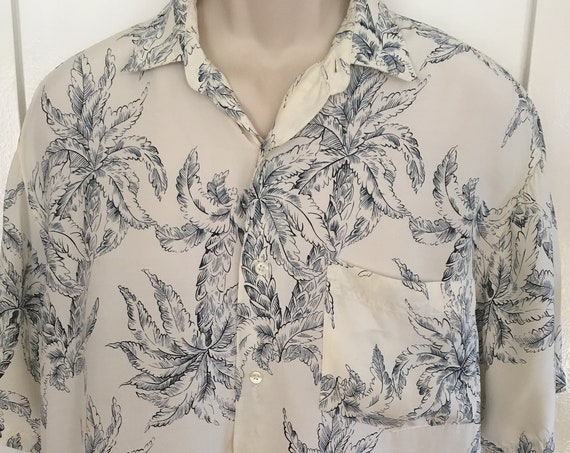 1980s Banana Republic Safari & Travel Clothing Co Blue and White Rayon Palm Tree Print-M L