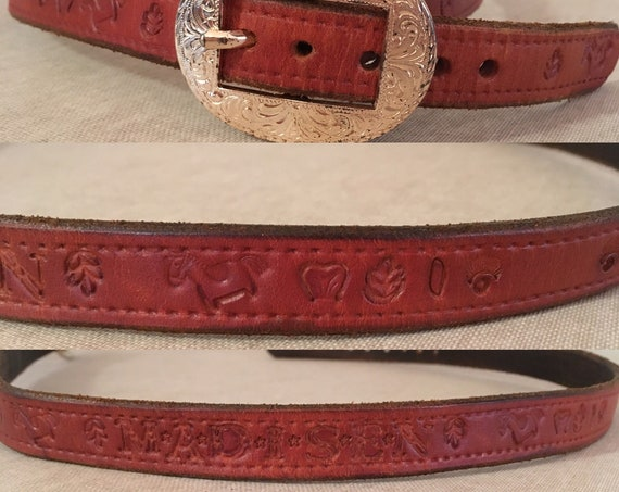 """1950s Cowgirl Cowboy Kids Hand Tooled Leather """"Madisen"""" Adjustable Belt with Removable Western Buckle 24""""-27"""" waist"""