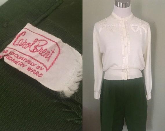 "1950s Timeless CAROL BRENT High Waist Olive Green Bermuda Cotton Shorts 28"" Waist"