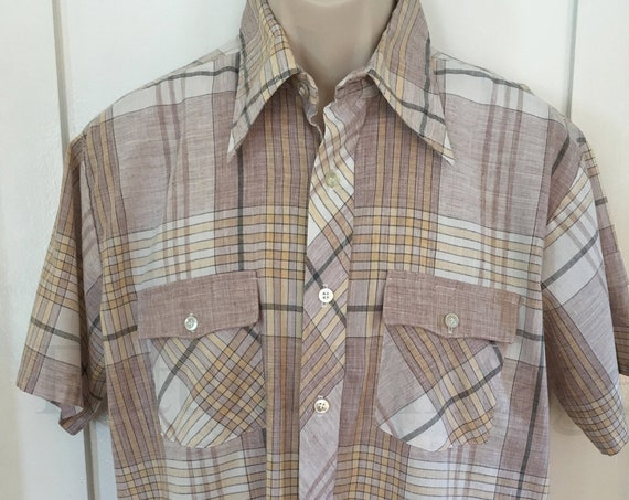 1970s DUDE by Cambridge Brown and Tan Plaid Short Sleeve Cotton Blend Shirt-L