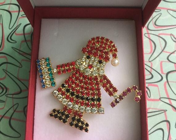 Vintage Super Sparkly Rhinestone Santa Claus Brooch