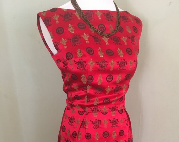 1950s 1960s Stunning Red and Gold Lantern Theme Silk Brocade Party Wiggle Dress-XS S