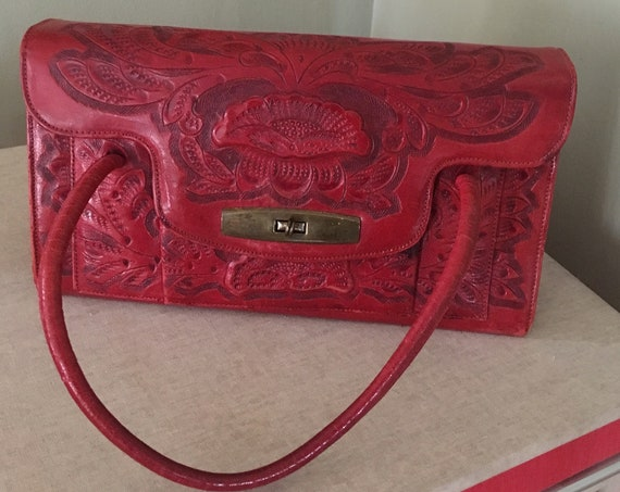 1950s Gorgeous Southwest Red Hand Tooled Leather Handbag with Lots of Pockets and Coin Purse