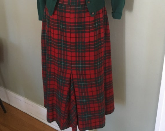 "1950s Smart Red and Green Plaid High Waist Skirt with Front Kick Pleat and Side Metal Zipper with Button Closure-28"" Waist"