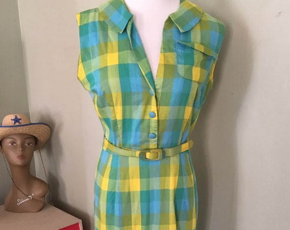 "1950s  Summer Picnic Green Blue Yellow Plaid Sleeveless Dress with Matching Belt and Side Metal Zipper-S 34"" Bust"